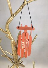 Vintage Christmas Tree Ornament Dated 1982 Red Wood Sleigh ...