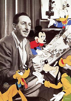 Rare Vintage Unused Walt Disney with Mickey Donald Goofy Pluto Fan Postcard 5x7