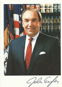 John Engler Signed Autographed Auto 5 x 7 Photo Cardstock Governor Of Michigan