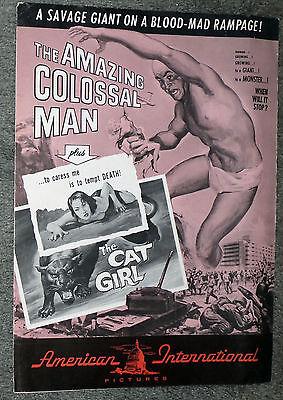 THE AMAZING COLOSSAL MAN/CAT GIRL original 1957 AIP pressbook BARBARA SHELLEY