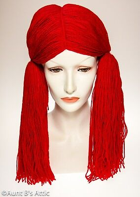 Rag Doll Wig Long Red Yarn Pigtail Doll / Clown Character Costume Wig OS (Red Rag Doll Wig)