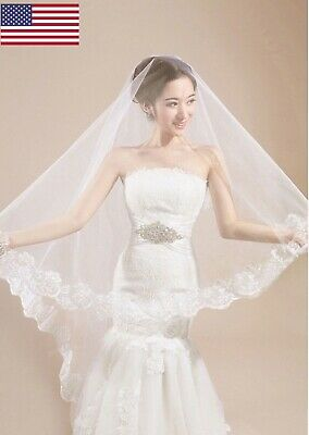 Wedding Veil 1/2T Cathedral Fingertip Length Pearl Lace Edge Long Bridal Veil  Edge Cathedral Length Veil