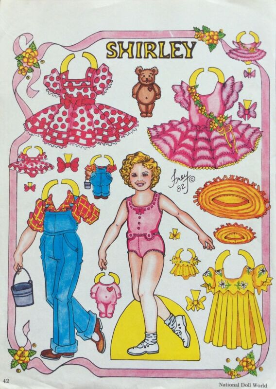 Shirley Temple Paper Doll by Pat Frey, Jan./Feb.1983 National Doll World