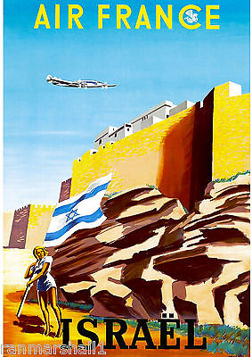 Israel Palestine Holy Land Airplane Vintage Travel Advertisement Art Poster