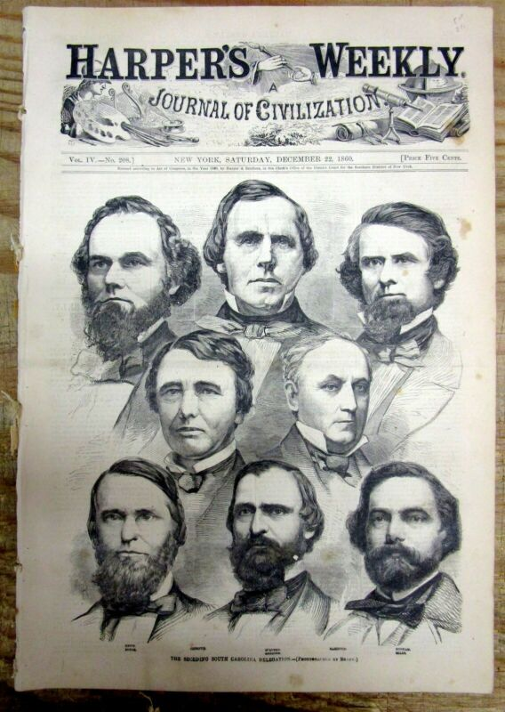 2 1860 illustrated newspapers SOUTH CAROLINA SECESSION from UNION pre CIVIL WAR