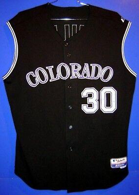 89ac84eaf COLORADO ROCKIES GLENALLEN HILL #30 BLACK VEST GAME WORN MLB Size 50 JERSEY