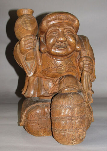 A heavy and Fine Japanese Wood Carved Happy Man with a Signature-19th C.
