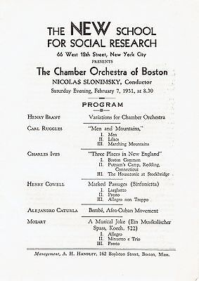 RARE 1931 PROGRAM at NEW SCHOOL - MODERN MUSIC - RUGGLES, IVES, COWELL, CATURLA