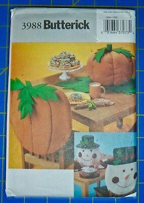 BUTTERICK CRAFT PATTERN #3988 *PUMPKIN & SNOWMAN* CHAIR-BACKS & DECOATIONS - UC (Pumpkin Craft)