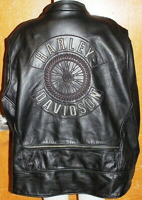 HARLEY DAVIDSON LEATHER JACKET WILLIE G WHEEL DESIGN 98015-06VM Sz 4XL