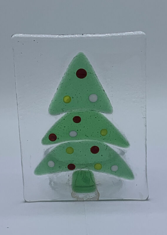 Fused Art Glass Christmas Tree, Votive Candle Holder, Preowned🎄