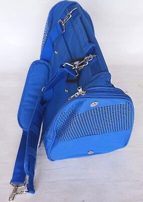 "Collapsible BLUE Nylon Zip Up Small Dog/Cat Carrier 17""x13""x9.5"" w/ Windows"