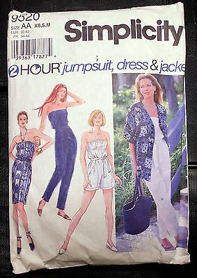 Simplicity #9520 Misses' Jumpsuit, Dress and Jacket Sz XS, S, M