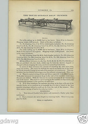 1910 PAPER AD Tower One Man 2 Saw Trimmer Machine Lumber Knight's Sawmill Dogs