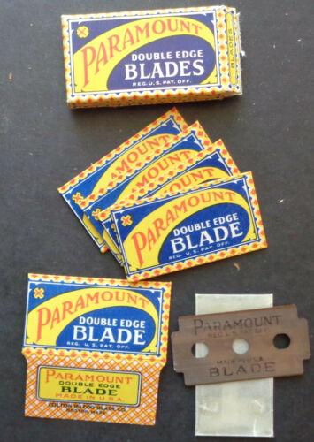 Vintage USA Razor Blades PARAMOUNT Pack of 5 Old 3-Hole Style