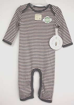 Burts Bees Baby One Piece Outfit Pink and Gray Stripes with Grey trim New