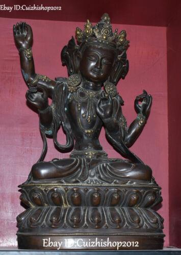 """21"""" Old Marked China Purple Bronze Gold 4 Arms jealousy Goddess Buddha statues"""