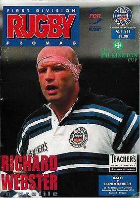 Rugby Union Programme>BATH v LONDON IRISH Dec 1996 Pilkington Cup