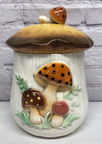 Vtg Mushroom Cookie Jar Canister Ceramic LARGE Retro 1970's