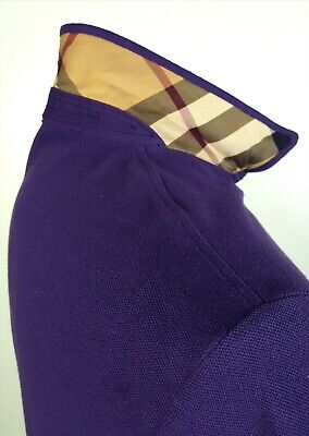 AUTH Burberry Brit M Nova Check Flip Collar Polo Deep Purple (Purple Burberry Polo)