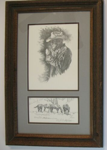 """Virgil Stephens ~ Western Artist Signed Pencil Drawing Print """"Faded Memories"""""""