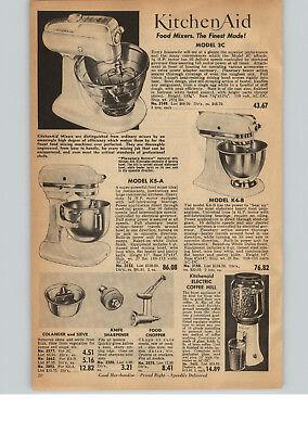 1956 PAPER AD Kitchenaid Electric Food Mixer 3C K5-A K4-B Planetary Action