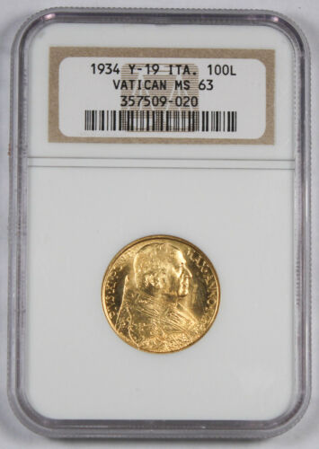 Vatican City 1933-1934 100 Lire 8.8 Gram Gold Coin NGC MS63 Pius XI BU KM #19