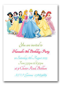 Personalised Childrens Birthday Party Invitations Thank You Card Disney Princess