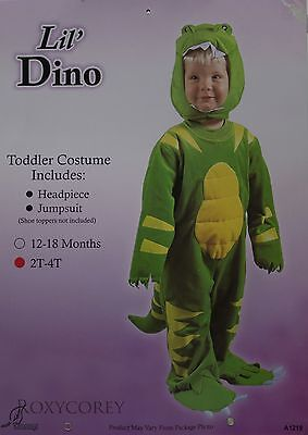Halloween Toddler Green & Yellow Lil Dino Jumpsuit Headpiece Costume Size 2T-4T