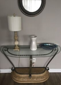 very nice villa style wrought iron and glass console table