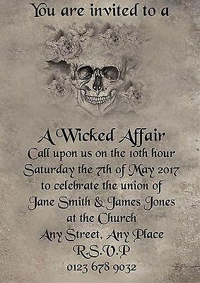 Personalised Gothic Style Skull Wedding Invitations Invites - Skull Wedding Invitations