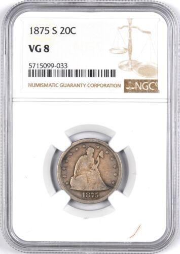 1875-S Twenty Cent Silver Coin 20C - NGC VG 8 -