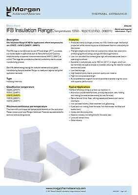 """K-26 Insulating Firebrick 9/""""x4.5/""""x .75/"""" Morgan Thermal Ceramics Fire Brick 2600F"""