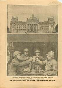 "Reichstag Palace Berlin Germany / British Army Poilus Casques 1919 ILLUSTRATION - France - Commentaires du vendeur : ""OCCASION"" - France"