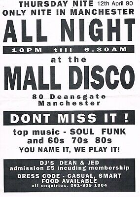 ALL NIGHT MALL DISCO Rave Flyer Flyers 12/4/90 A4 80 Deansgate (Manchester Malls)