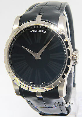 Roger Dubuis Excalibur 42 18k White Gold 42mm Onyx Dial Mens Watch NEW DBEX0350