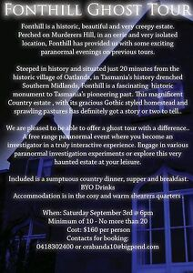 Fonthill Ghost Tour Oatlands Southern Midlands Preview