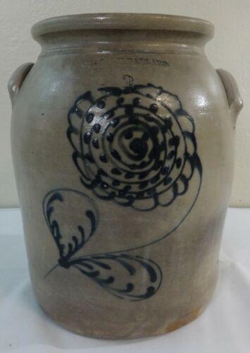 Antique Stoneware 3 Gal. Jar Cobalt Decorated O.L. & A.K. Ballard Burlington, VT