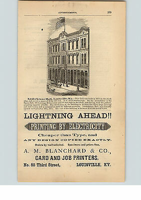 1876 Paper Ad Liederkranz Hall Louisville  A M Blanchard Printing by Electricity