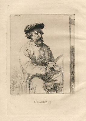 """Leon Augustin Lhermitte original etching """"Portrait of Charles Daubigny"""""""