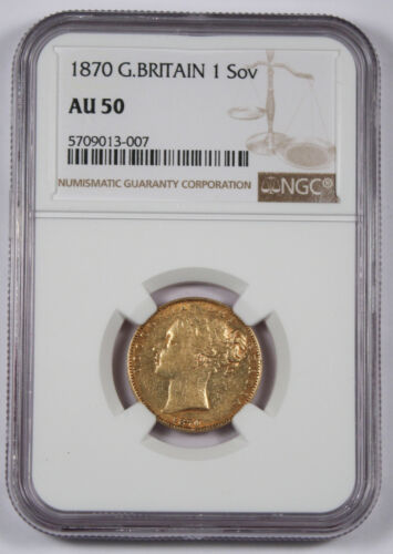Great Britain UK 1870 Sovereign Sov Gold Coin NGC AU50 Young Victoria Shield AU