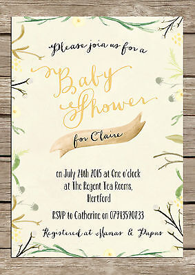 PERSONALISED SHABBY CHIC RUSTIC BABY SHOWER INVITATIONS PACKS OF 10 - Rustic Baby Shower Invitations