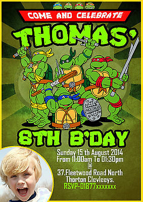 Personalised boys Birthday Party Invitation teenage mutant ninja turtle,TMNT x8](Ninja Turtle Invitations)
