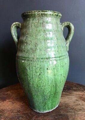 Chunky Green Glazed Ceramic Rustic Urn Olive Jar Vase Plant Pot Crackled Large