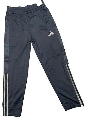 Adidas Boys Youth Fleece Track Pants Dark Grey/Silver Stripes Bottom Half Gray Bottom Rail