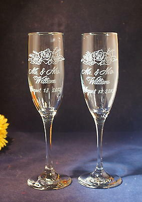 2 Personalized Engraved  Wedding Champagne Toasting Flutes with Rose Design - Engraved Wedding Flutes
