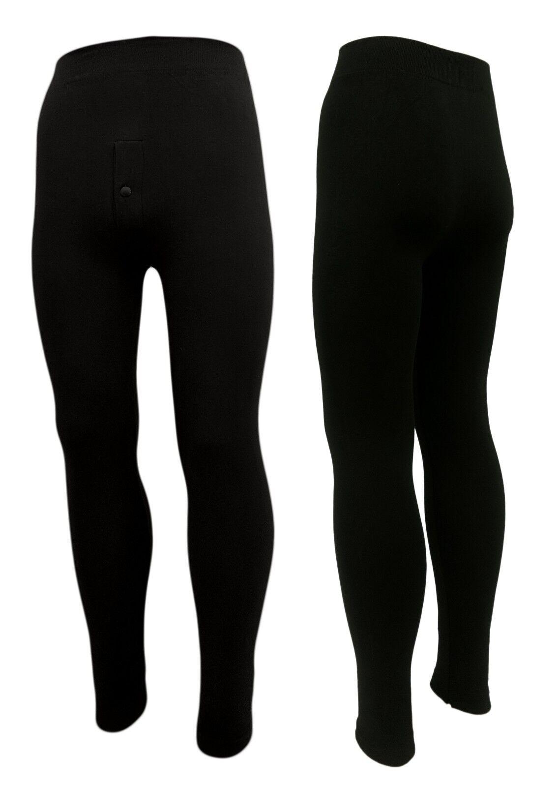 Winter Leggings für Männer 2er Set - 85% Baumwolle Eingriff schwarz Gr. S, M, L