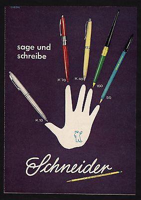 3w1640/ Alte Reklame von 1960 - sage und schreibe - SCHNEIDER
