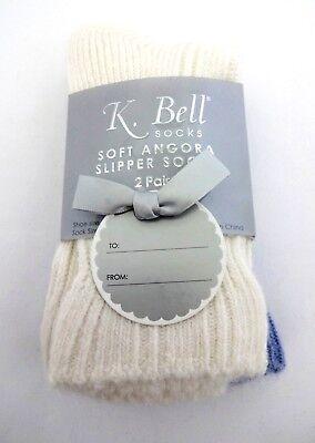 4 PAIRS – K. Bell Soft Angora Slipper Socks 2 Blue; 2 Crea
