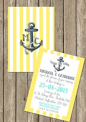 PERSONALISED NAUTICAL DOUBLE SIDED WEDDING INVITATIONS PACKS OF 10